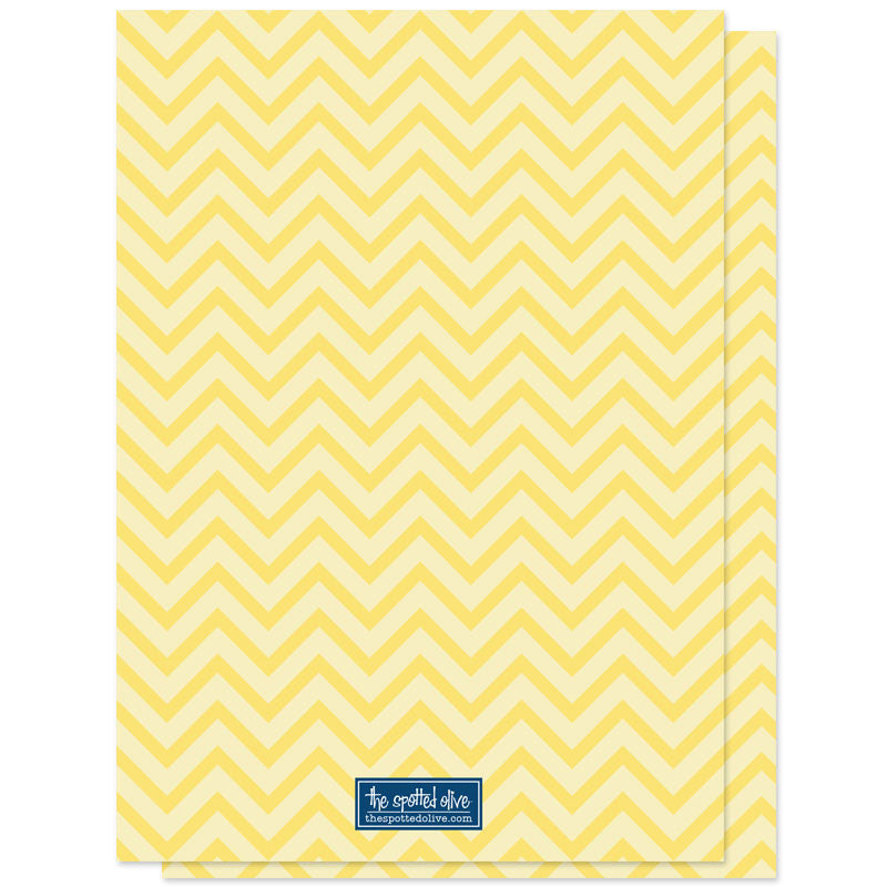 Baby Shower Invitations - Yellow Navy & Gray Chevron - The Spotted Olive - back