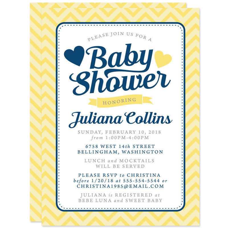 Baby Shower Invitations - Yellow Navy & Gray Chevron - The Spotted Olive