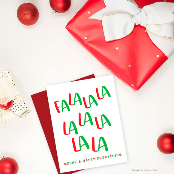 Cute Fa La La La La Holiday Card by The Spotted Olive