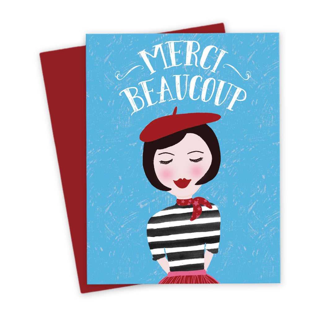 Cute French Girl Thank You Card by The Spotted Olive