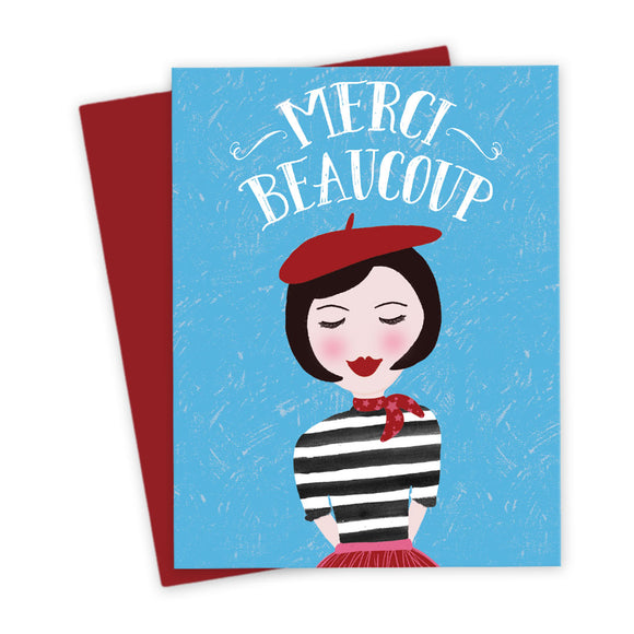 Cute French Girl Thank You Card by The Spotted Olive - Confetti