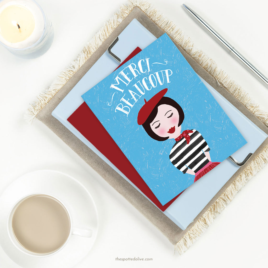Cute French Girl Thank You Card by The Spotted Olive-Scene