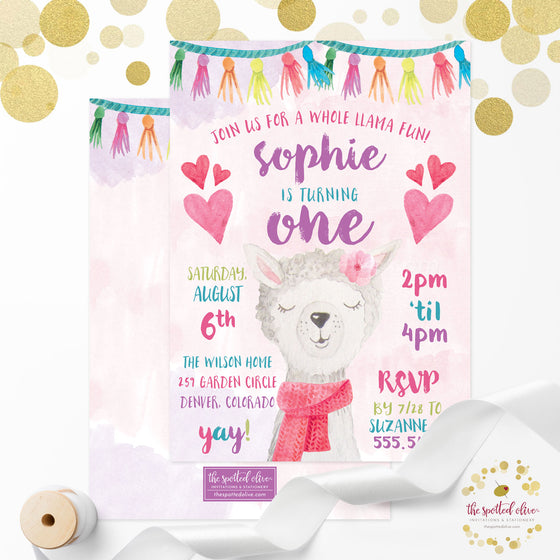 Kids Birthday Party Invitations - Cute Llama