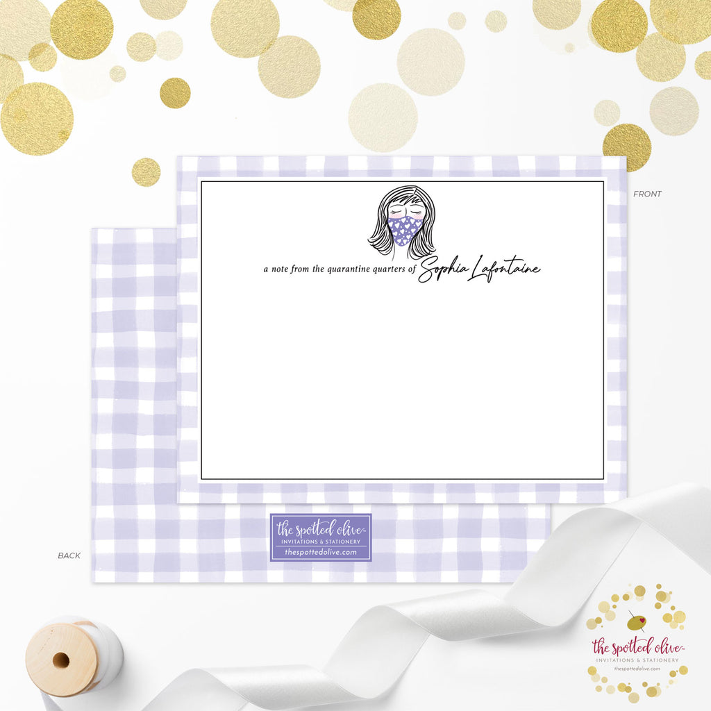 Personalized Note Cards - Cute Masked Lady