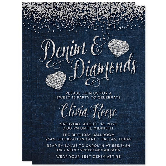 Denim & Diamond Gems Sweet 16 Invitations by The Spotted Olive