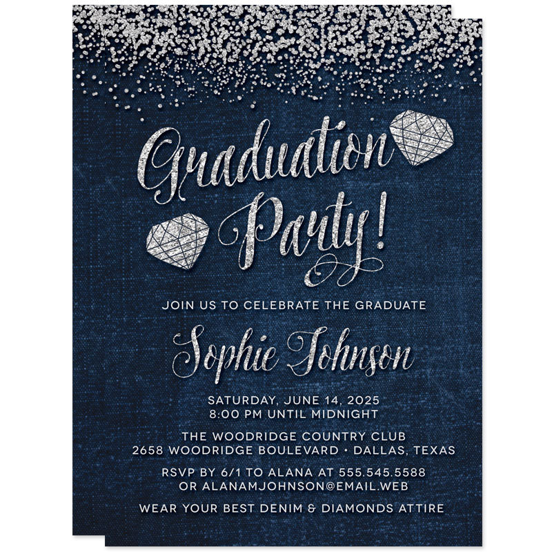 Denim & Diamonds Graduation Party Invitations by The Spotted Olive