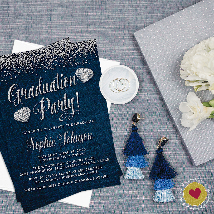 Denim & Diamonds Graduation Party Invitations by The Spotted Olive - Scene