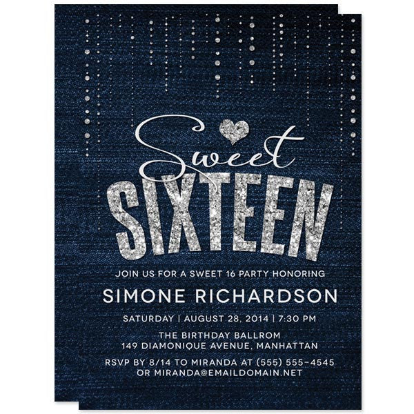 Denim & Diamonds Sweet 16 Party Invitations by The Spotted Olive