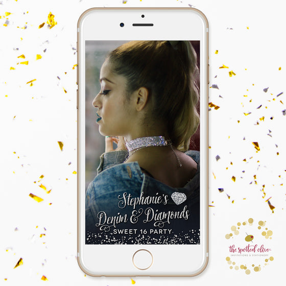 Denim & Diamonds Gems Sweet 16 Personalized Snapchat Geofilter