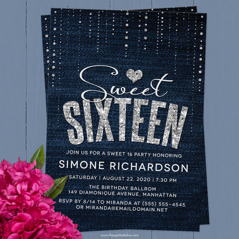 sweet 16 party invitations denim diamonds the spotted olive