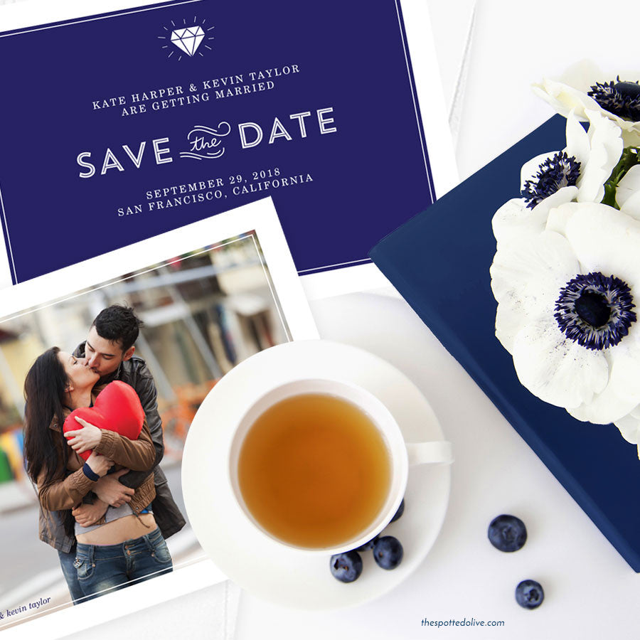 Diamond Simplicity Save The Date Cards by The Spotted Olive - Scene