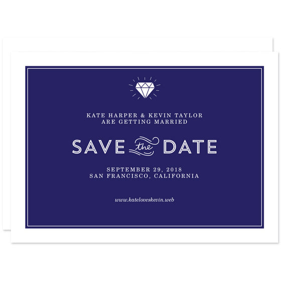 Diamond Simplicity Save The Date Cards
