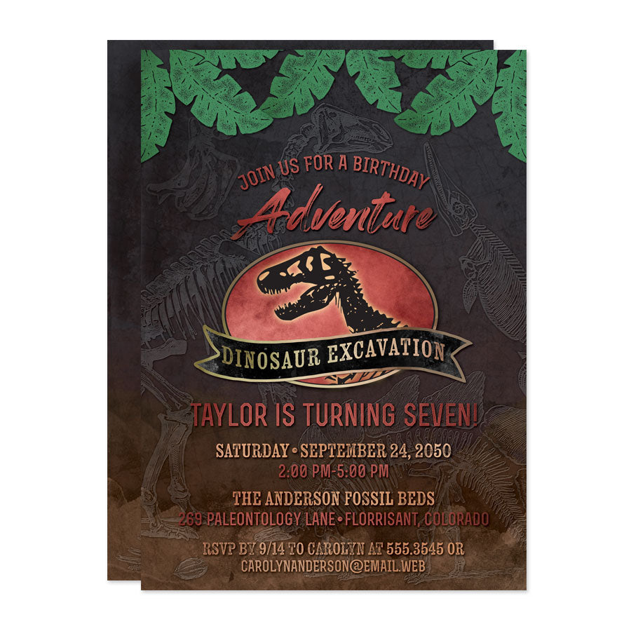 Dinosaur Excavation Birthday Party Invitations by The Spotted Olive