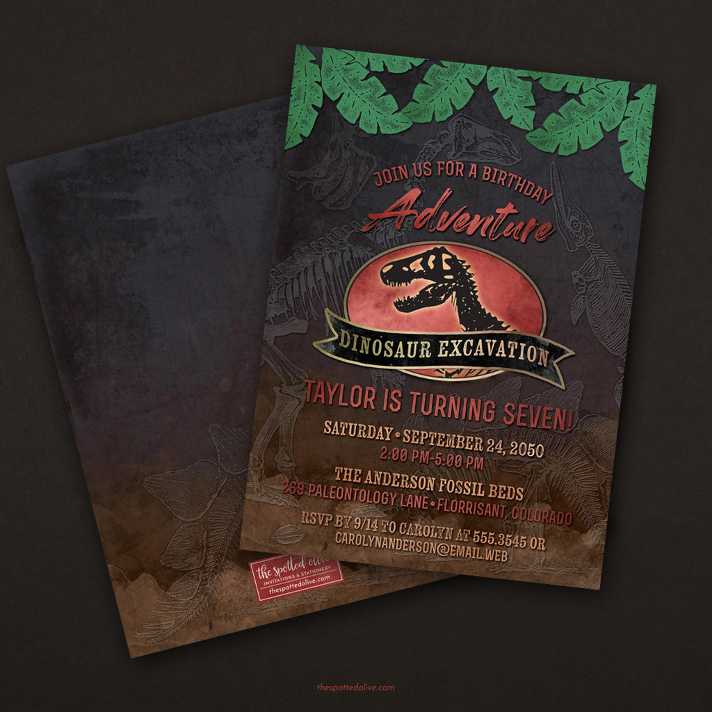 Dinosaur Excavation Birthday Party Invitations by The Spotted Olive - Scene