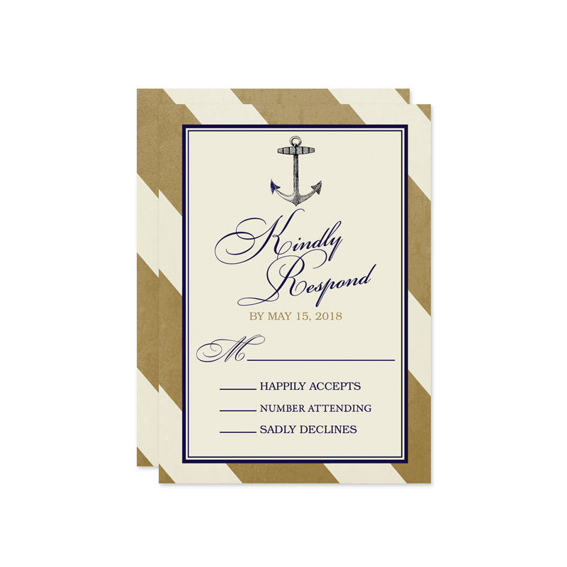 Elegant Gold & Navy Nautical Wedding RSVP Cards