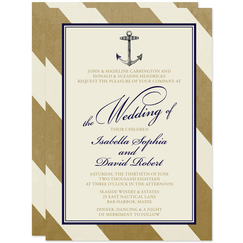 Elegant Gold & Navy Nautical Wedding Invitations