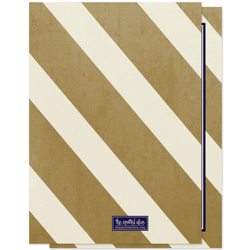 Elegant Navy & Gold Nautical Stripes Save The Date Cards - Back