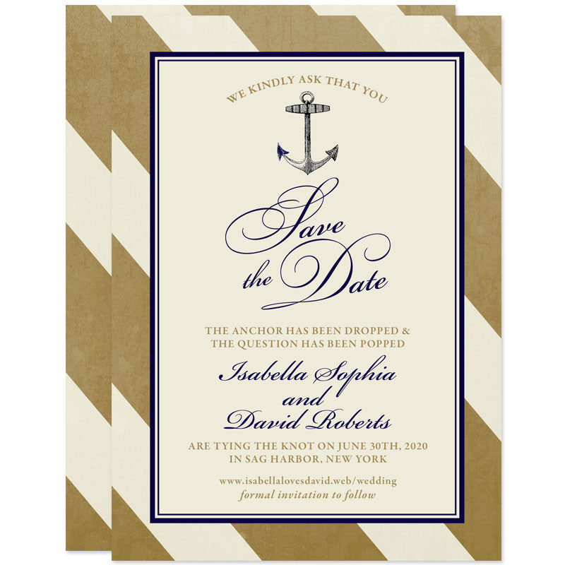 Elegant Navy & Gold Nautical Stripes Save The Date Cards