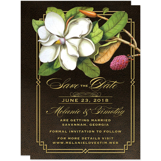 Elegant Vintage Southern Magnolia Save The Date Cards