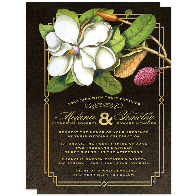 Elegant Vintage Southern Magnolia Wedding Invitations