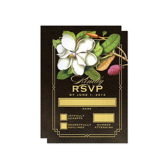 Elegant Vintage Southern Magnolia Wedding RSVP Cards by The Spotted Olive