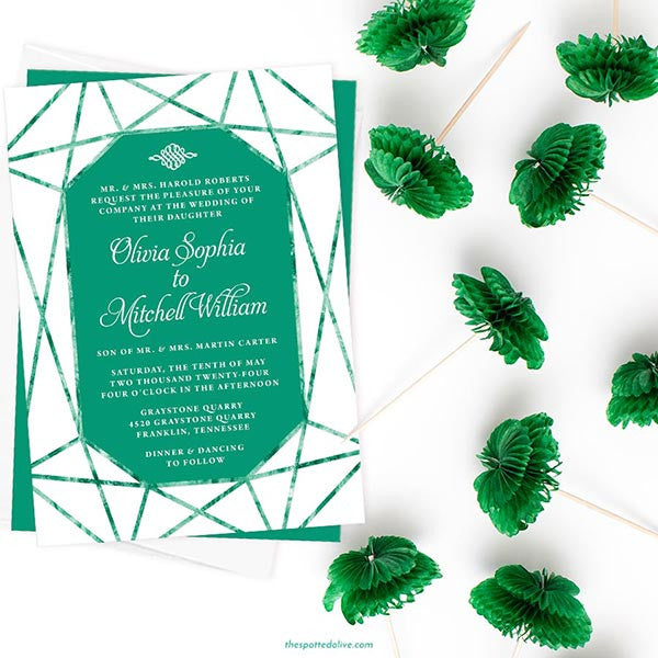 Emerald Gem Wedding Invitations by The Spotted Olive - Scene