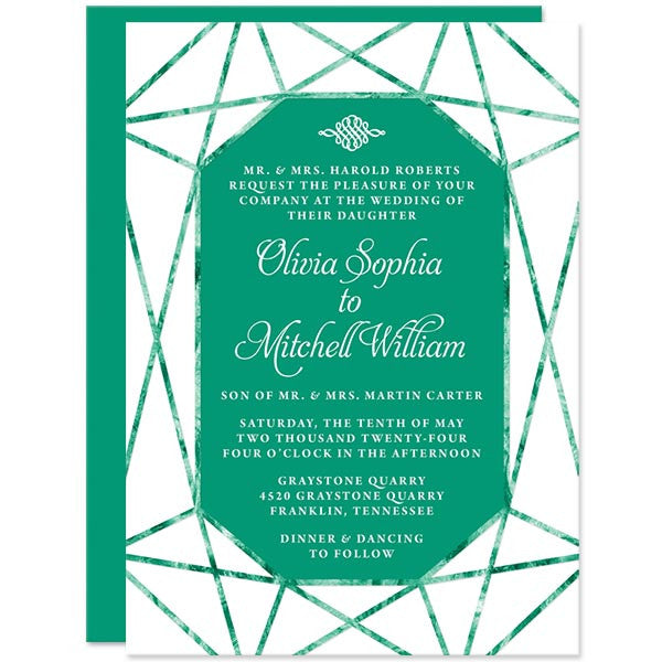 Emerald Gem Wedding Invitations by The Spotted Olive