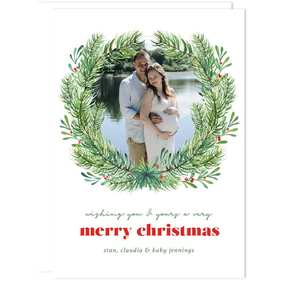 Evergreen Wreath Holiday Photo Cards by The Spotted Olive