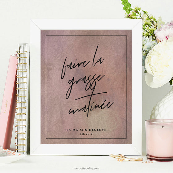 Faire La Grasse Matinée Personalized Art Print by The Spotted Olive - Scene