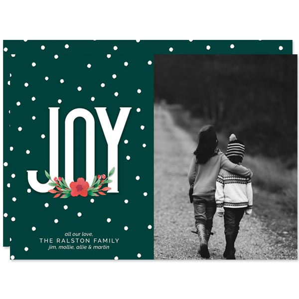 Floral Joy Holiday Photo Cards by The Spotted Olive
