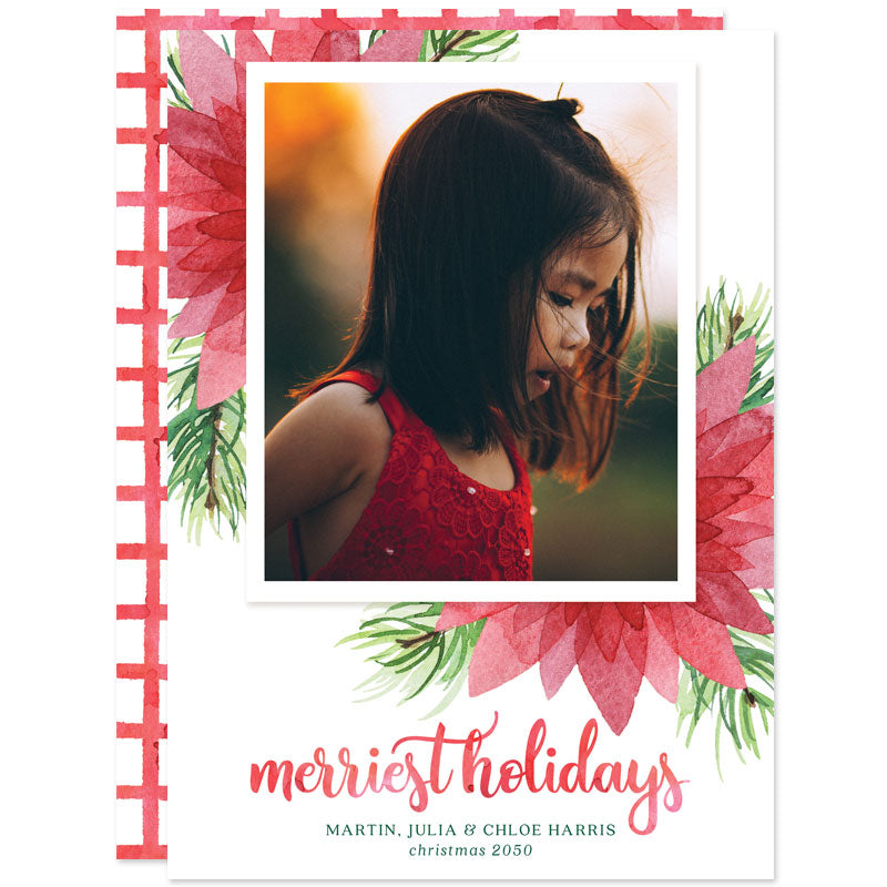 Floral Merriest Holidays Holiday Photo Cards by The Spotted Olive