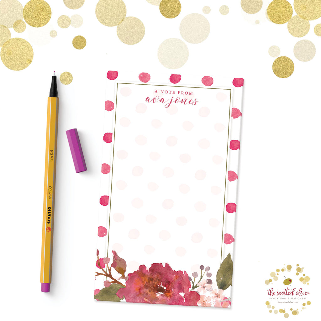 Flowers & Polka Dots Personalized Notepad by The Spotted Olive - Branded