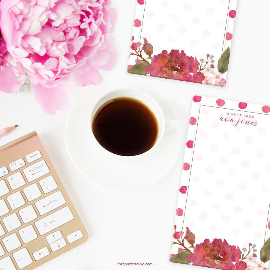 Flowers & Polka Dots Personalized Notepad by The Spotted Olive - Scene