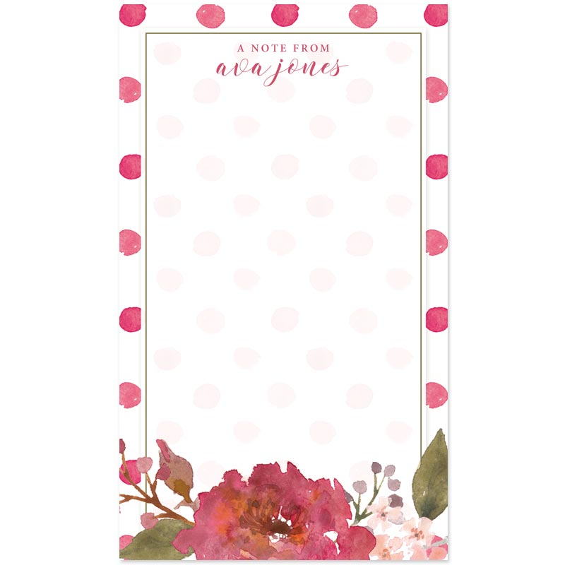 Flowers & Polka Dots Personalized Notepad by The Spotted Olive