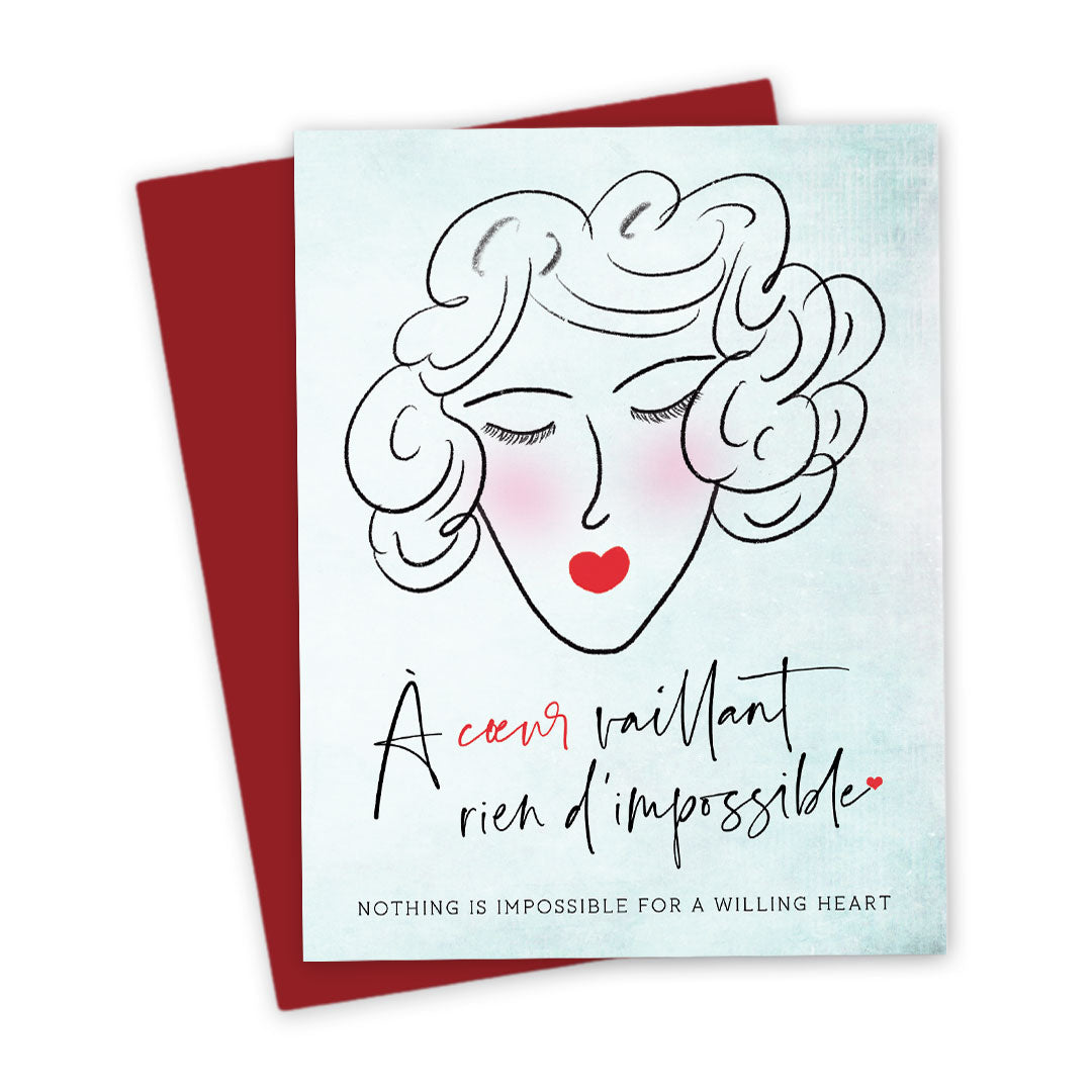 French Lady Willing Heart Card by The Spotted Olive - Confetti