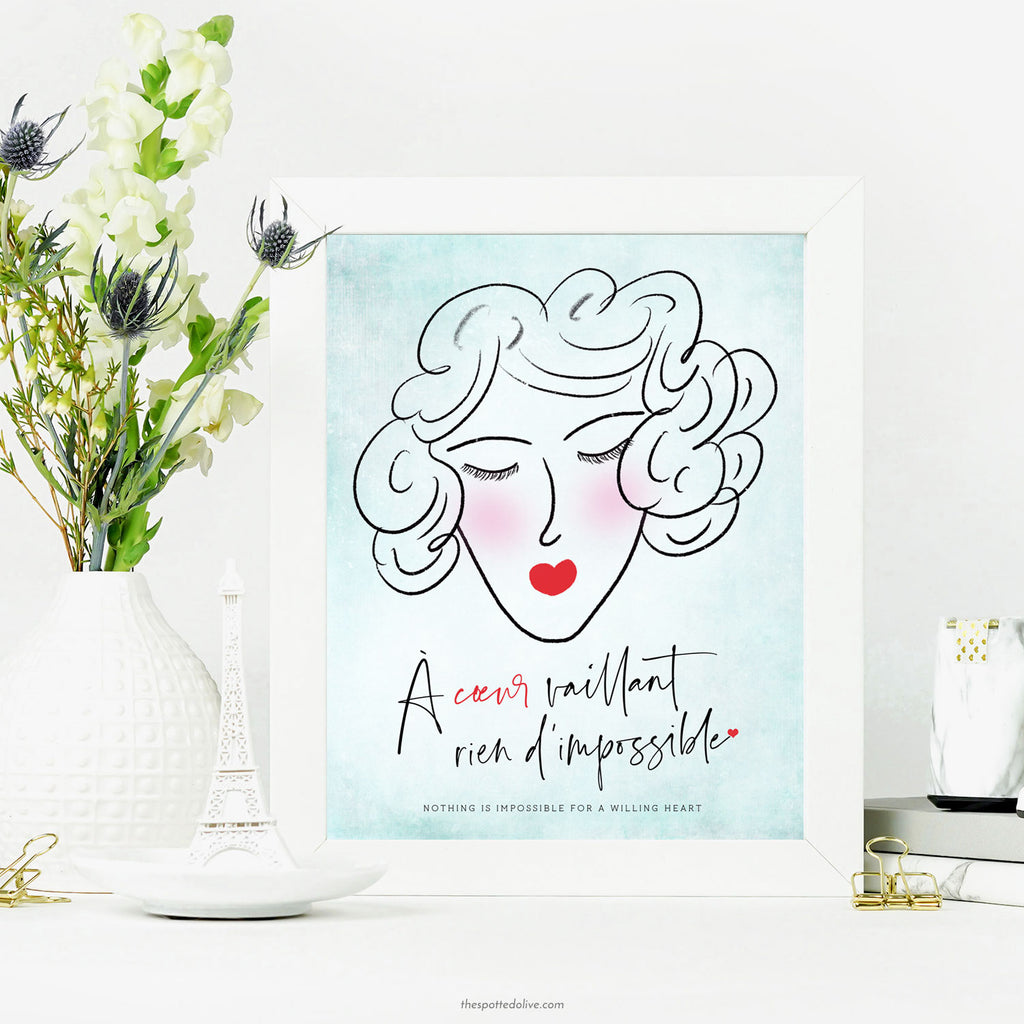 French Willing Heart Lady Printable Art by The Spotted Olive- Scene