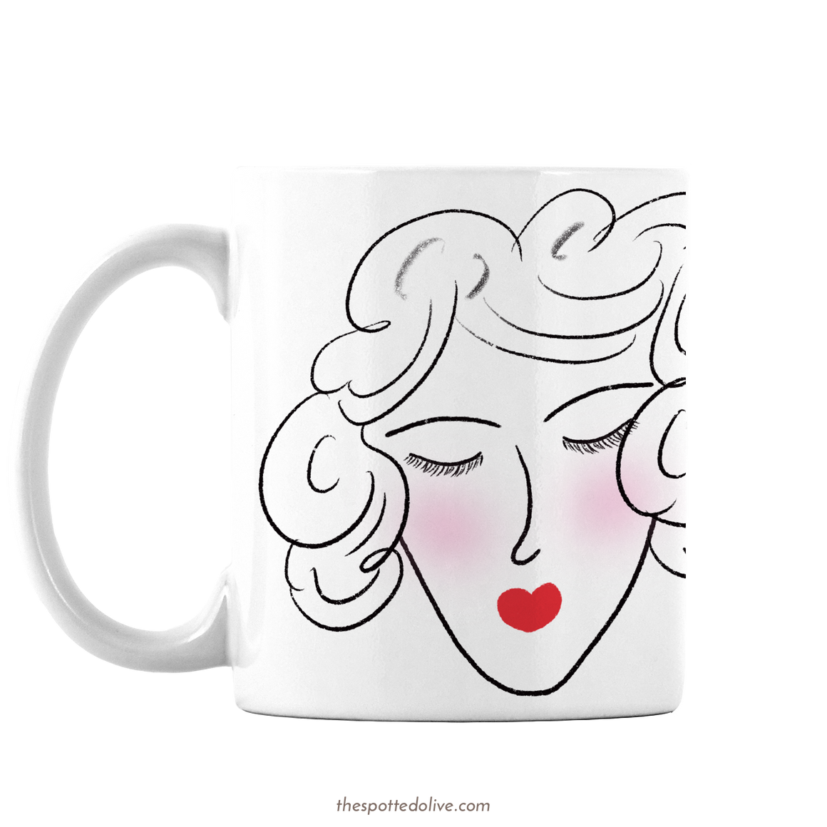 French Willing Heart Coffee Mug By The Spotted Olive - Left
