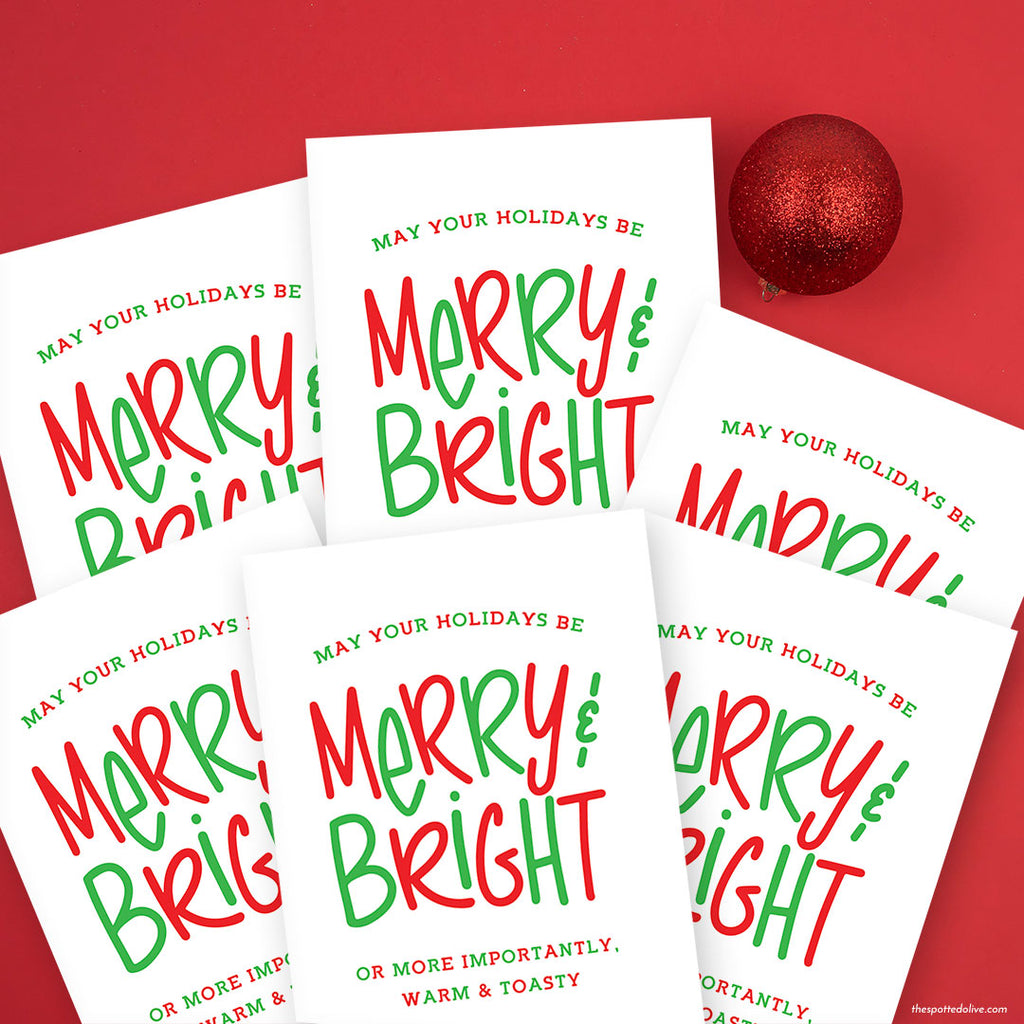 Funny Merry & Bright Holiday Card by The Spotted Olive - Scene
