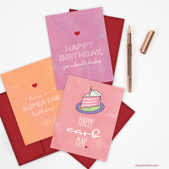 Gal Pal Birthday Card Bundle by The Spotted Olive-Confetti Background