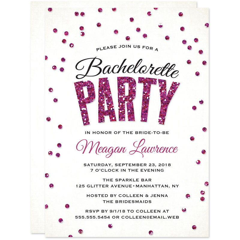 Glitter Look Confetti Bachelorette Party Invitations