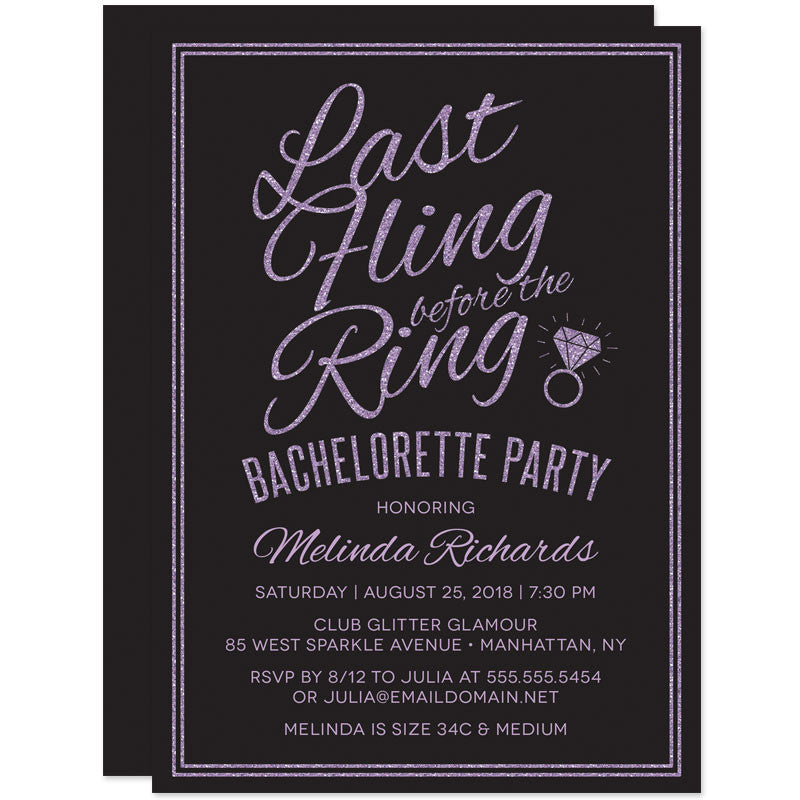 Glitter Look Last Fling Before The Ring Bachelorette Party Invitations