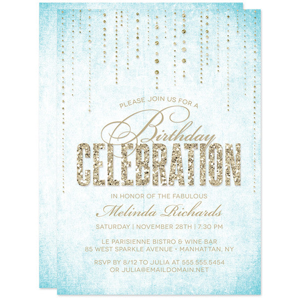 Blue & Gold Glitter Look Streaming Gems Birthday Party Invitations