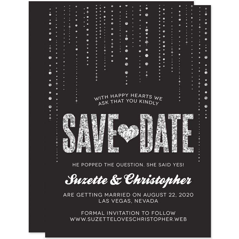 save the date cards black silver glitter streaming gems the