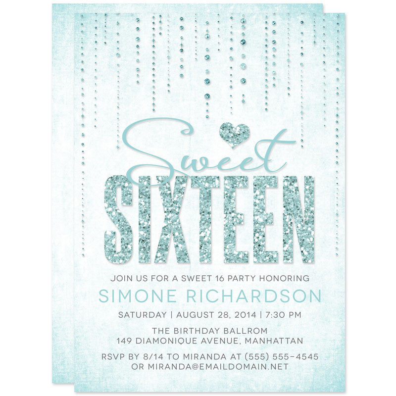 Sweet 16 Invitations Glitter Look Streaming Gems The Spotted