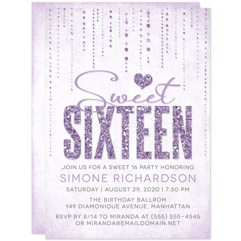 Lavender Glitter Look Streaming Gems Sweet 16 Party Invitations