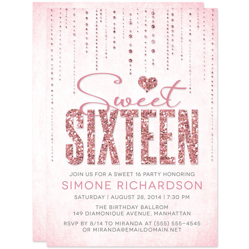 Pink Glitter Look Streaming Gems Sweet 16 Party Invitations