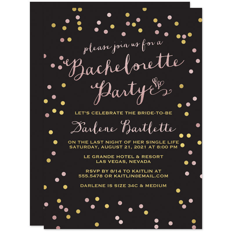 Gold & Pink Confetti Dots Bachelorette Party Invitations