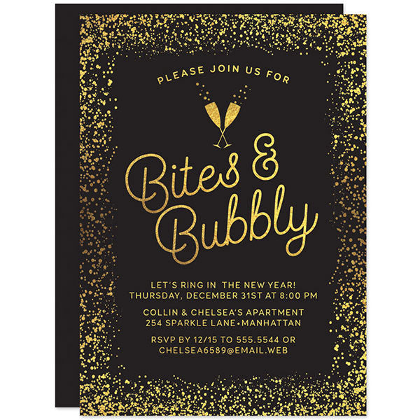 Gold Confetti Bites & Bubbly New Years Eve Holiday Party Invitations