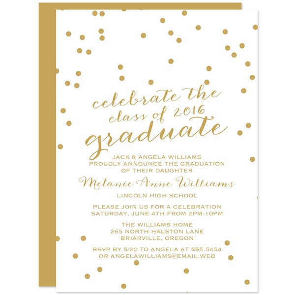 Gold Confetti Graduation Party Invitations by The Spotted Olive