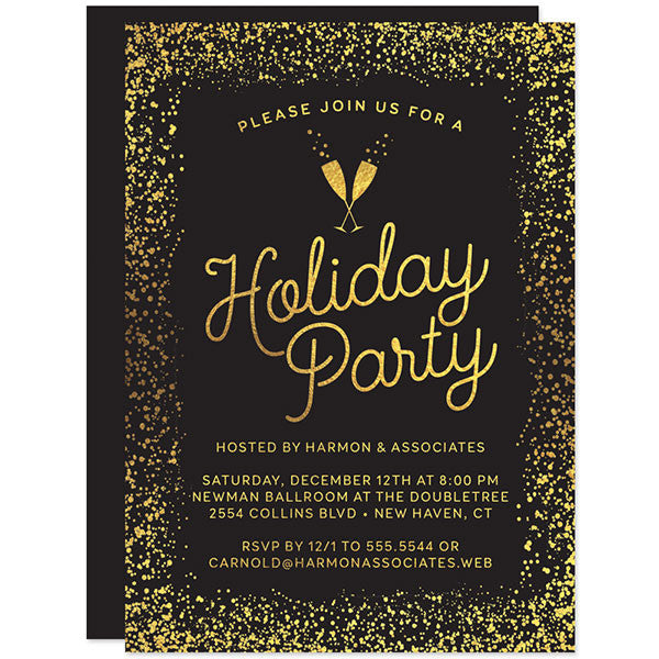 Gold Confetti  Bubbly Holiday Party Invitations